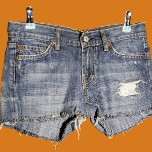7 For All Mankind Distressed styled Denim Shorts